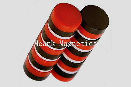 red and black plastic coated neodymium disc magnets